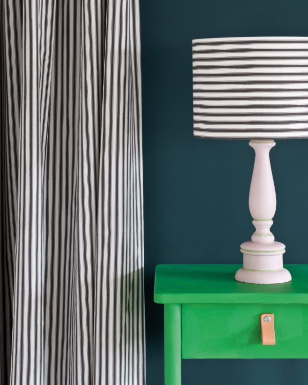 Antibes Green Side Table Ticking in Graphite curtain and lampshade Wall Paint in Aubusson Blue 1600