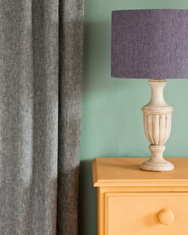 Arles side table Linen Union in Graphite Old White curtain Linen Union in Emile Graphite lampshade 1600