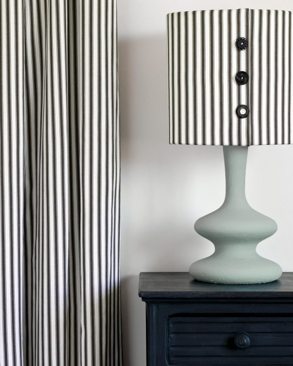 Athenian Black side table Curtain and lampshade in Ticking in Graphite lamp base in Svenska Blue 1600
