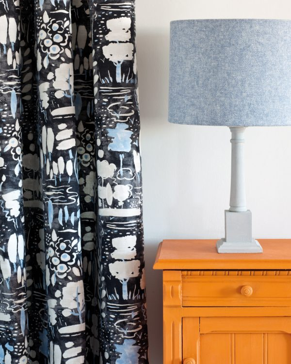 Barcelona Orange side table Dulcet in Graphite curtain Linen Union in Old Violet Old White lampshade 1600