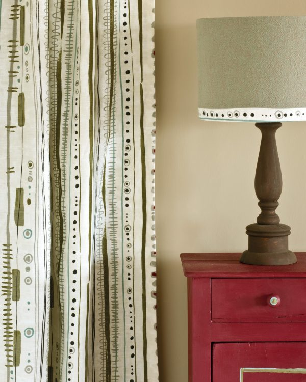Burgundy side table Piano in Olive curtain Linen Union in Coco Duck Egg Blue lampshade 1600