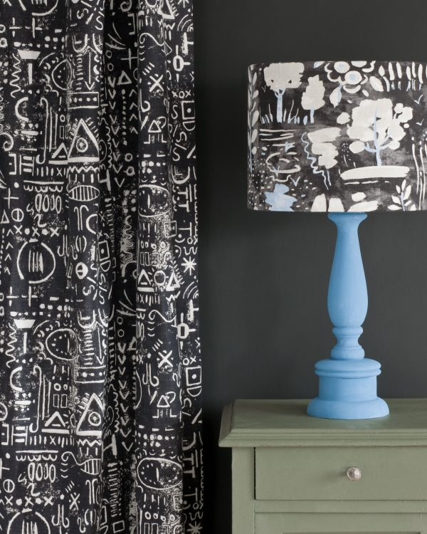 Chateau Grey side table Tacit in Graphite curtain Dulcet in Graphite lampshade 1600