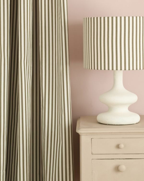 Country Grey side table Antoinette Wall Paint Ticking in Olive curtain and lampshade 1600