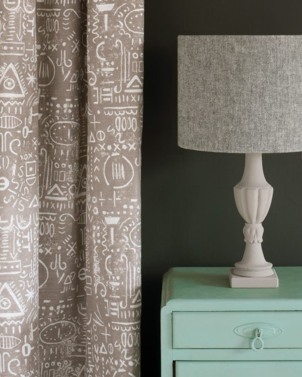 Duck Egg Blue side table Graphite Wall Paint Tacit in French Linen curtain Linen Union in Graphite Old White lampshade 1600