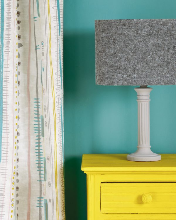 English Yellow side table Wall Paint in Provence Piano in Provence curtain Linen Union in Graphite Old White lampshade 1600