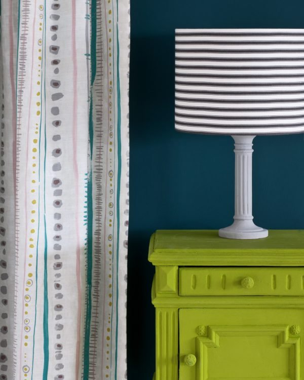 Firle side table Wall Paint in Aubusson Blue Piano in Provence curtain Ticking in Graphite lampshade 1600
