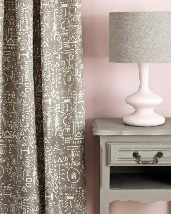 French Linen side table Antoinette Wall Paint Tacit in French Linen curtain Linen Union in Coco Duck Egg Blue lampshade 1600