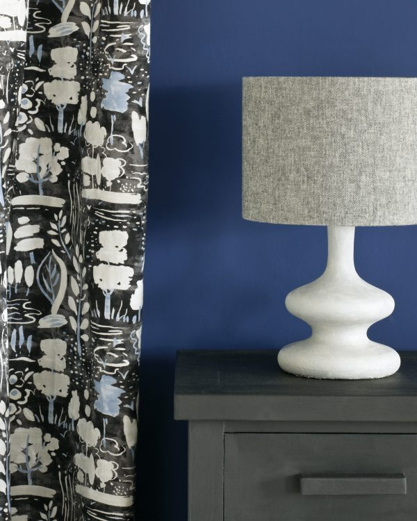 Graphite side table Napoleonic Blue Wall Paint Dulcet in Graphite curtain Linen Union in Graphite Old White lamshade 1600
