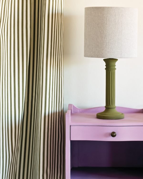 Henrietta side table Ticking in Olive curtain Linen Union in Old White French Linen lampshade 1600