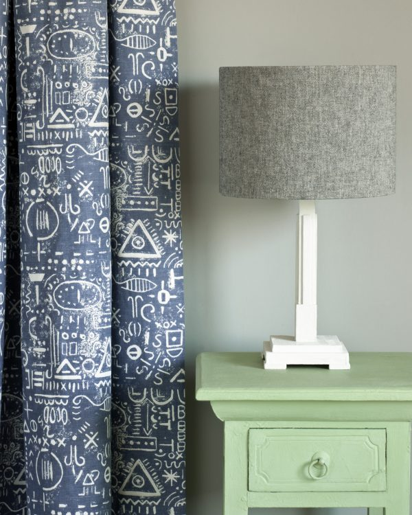 Lem Lem side table Tacit in Old Violet curtain Linen Union in Graphite Old White lampshade 1600