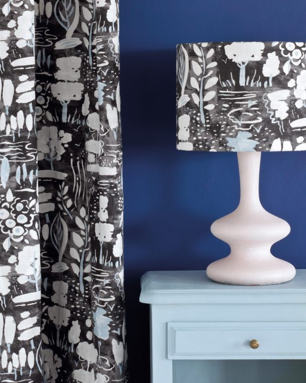 Louis Blue side table Napoleonic Blue Wall Paint Dulcet in Graphite curtain and lampshade 1600