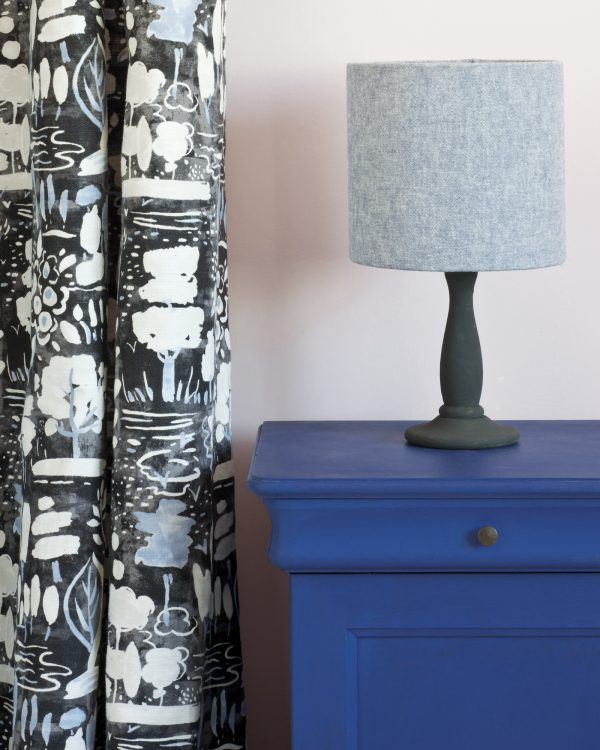 Napoleonic Blue side table Antoinette Wall Paint Dulcet in Graphite curtian Linen Union Old Violet Old White lampshade 1600