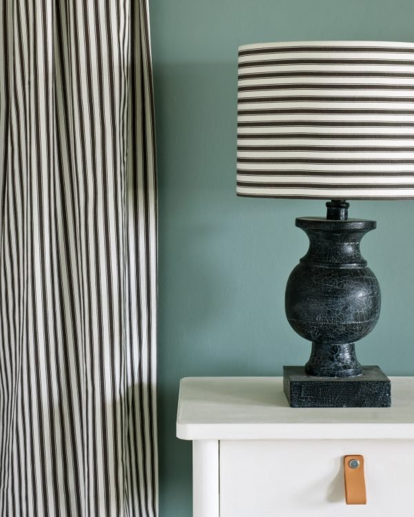 Old White side table Ticking in Graphite Duck Egg Blue Wall Paint 1600