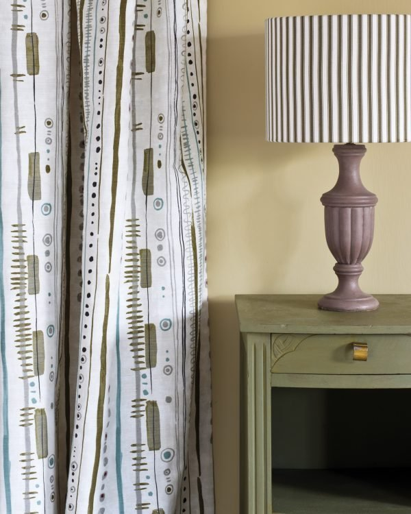 Olive side table Piano in Olive curtain Ticking in Graphite lampshade 1600