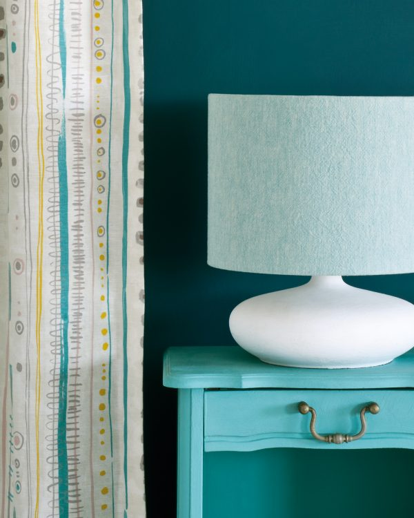 Provence side table Wall Paint in Aubusson Blue Piano in Provence curtain Linen Union in Provence Old White lampshade 1600