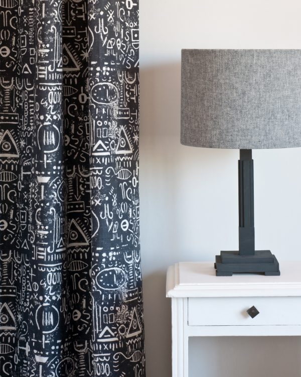 Pure side table Tacit in Graphite curtain Linen Union in Graphite Old White lampshade 1600