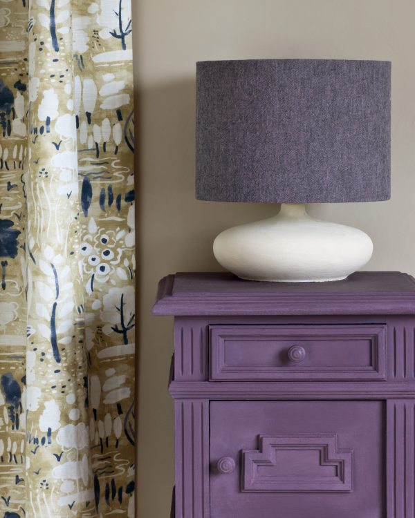 Rodmell side table Dulcet in Versailles curtain Linen Union in Emile Graphite lampshade 1600