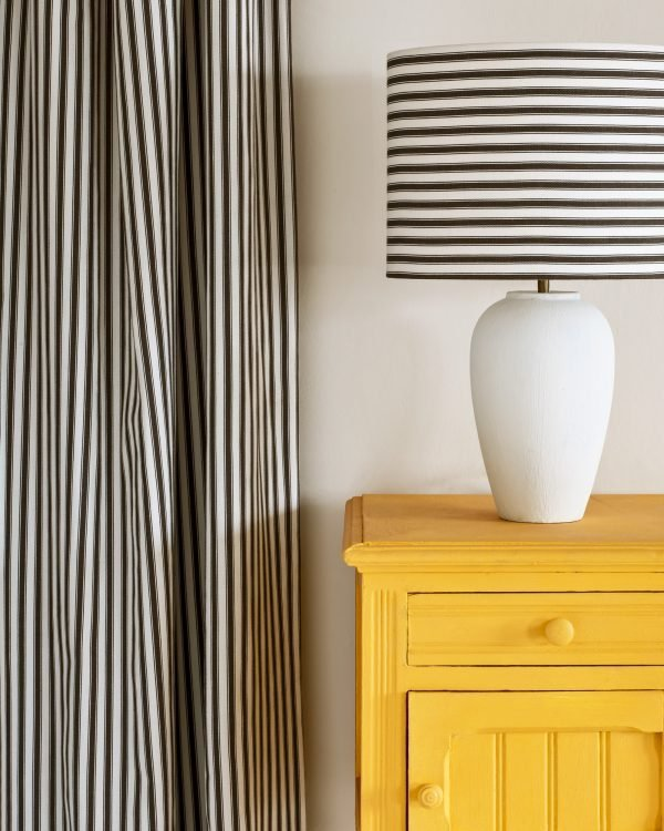 Tilton side table Ticking in Graphite lampshade and curtain 1600