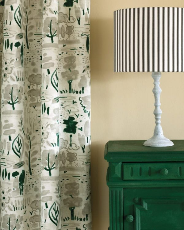 Amsterdam Green Side Table Dulcet in Old White curtain Ticking in Graphite lampshade 1600 900x1125 1