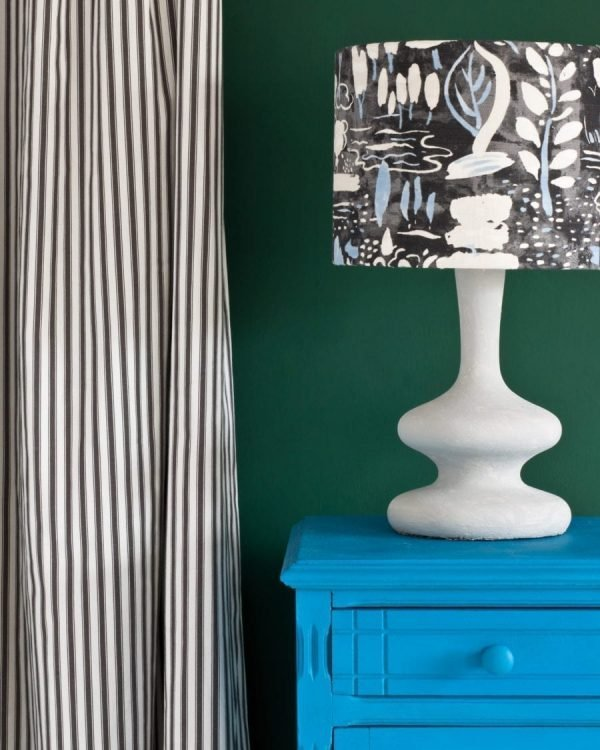 Giverny side table Amsterdam Green Wall Paint Ticking in Graphite curtain Dulcet in Graphite lampshade 1600 900x1125 1