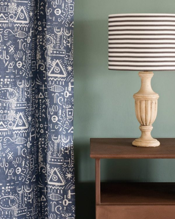 Honfleur side table Duck Egg Blue Wall Paint Tacit in Old Violet curtain Ticking in Graphite lampshade 1600 900x1125 1